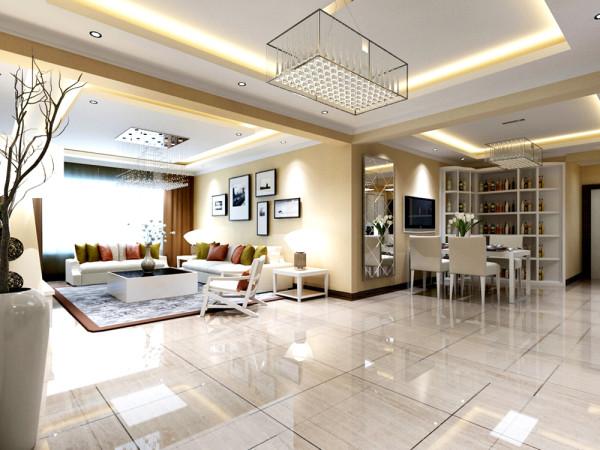 现代简约的起居室有的不只是主流、宽敞明亮,更多的是舒适和大气。整个客厅划分为门厅、餐厅和客厅。