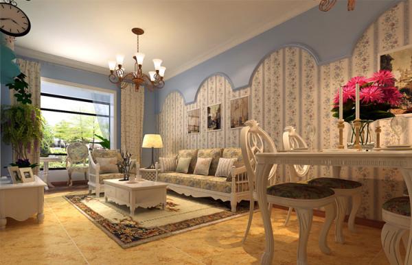 蓝与白:比较典型的地中海颜色搭配。加上不修边幅的线条,让客厅效果无须造作,本色呈现。