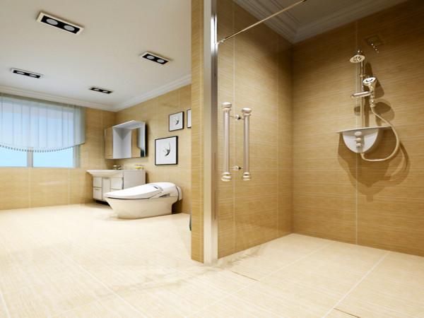 生间墙地砖选择米黄色系列的砖给人带来的是一种温馨,浴屏的独特设计分开了空间的干湿分离,砌筑的洗簌柜体现出了客户的高大上。