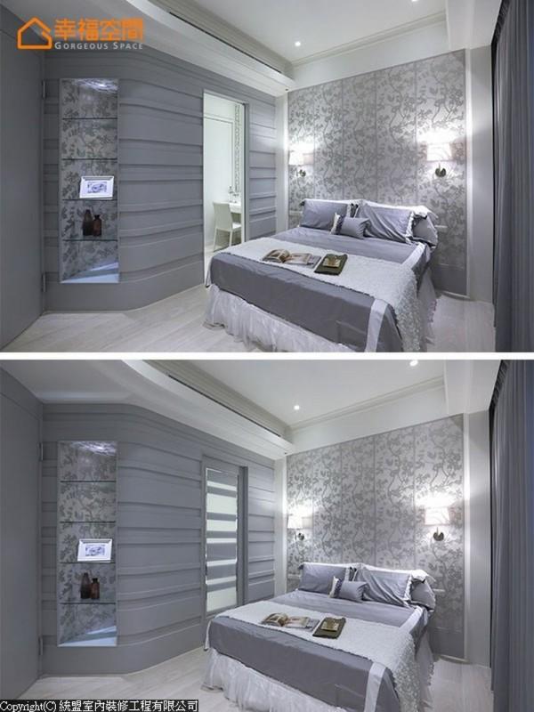 餐厅面的造型金箔立面,对应入女孩房内背向畸零,统盟设计运用入玻璃层板,作为卧房内展示段落。