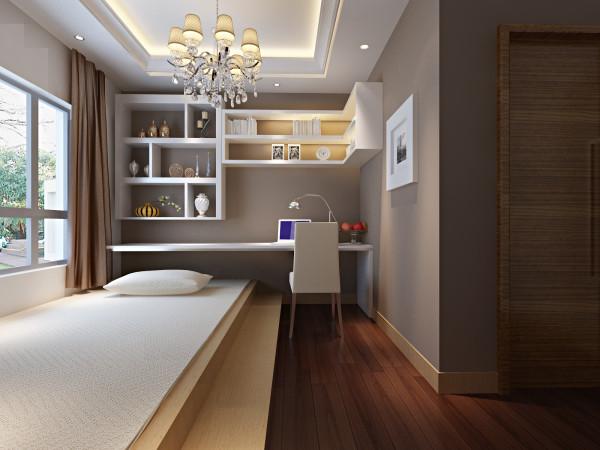 书房墙面颜色为浅咖色,浅色家具搭配的恰到好处。