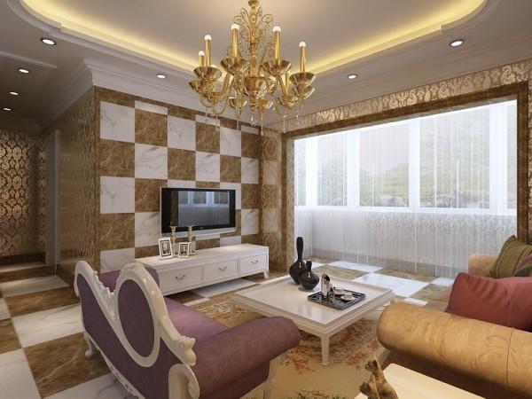 背景墙采用大理石,加上欧式吊灯,较强烈的突出现代感