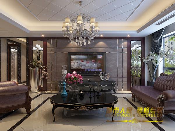 紫红色的沙发代表着好运与喜庆靠近窗边的贵妃椅既可以作为待客沙发使用,又可以让主人在空闲时,伴着窗外美景小憩。电视墙旁的白色花卉盆栽为整个空间带来了清新感,恍若一位明艳活泼的少女。