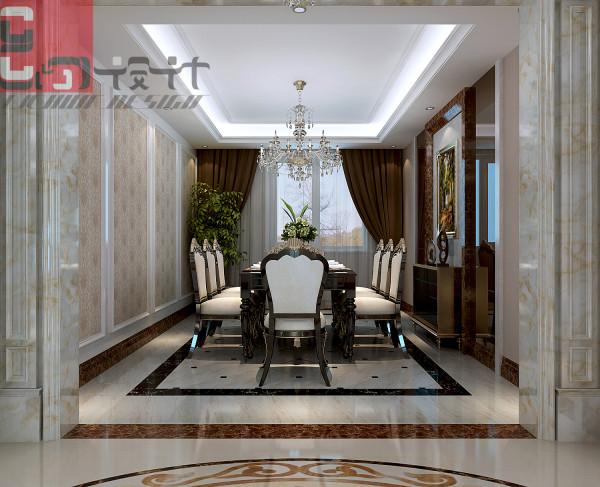 通过玄关后是独立餐厅,可容纳八人用餐的豪华餐桌椅,是居室美丽一景。
