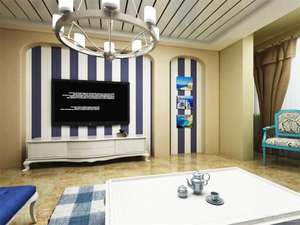 电视背景墙采用了拱门的造型,因为地中海风格的建筑特色就是拱门。中间设计了一个大吊灯,个人一种温馨的感觉