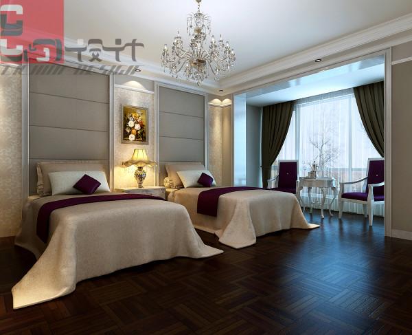 业主习惯分床休息,所以设计独立的床位。米色暗花壁纸、米灰床头软包、棕色实木拼花地板营造静逸的休息空间。