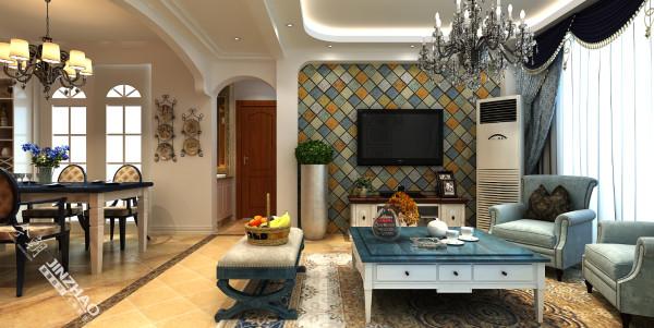 电视背景墙采用了小砖拼接效果,精致中带着优雅,整体与田园风格相呼应。