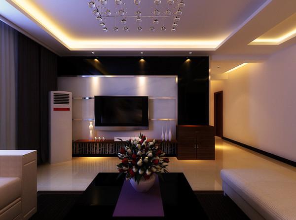 奥兰花园160平方四室两厅两卫装修案例,客厅、电视背景墙装修效果图