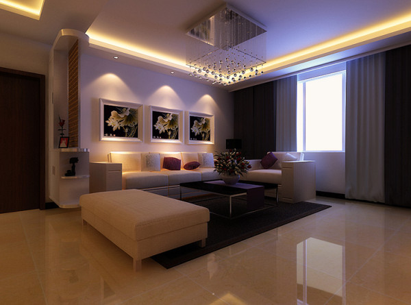 奥兰花园160平方四室两厅两卫装修案例,沙发背景墙装修效果图