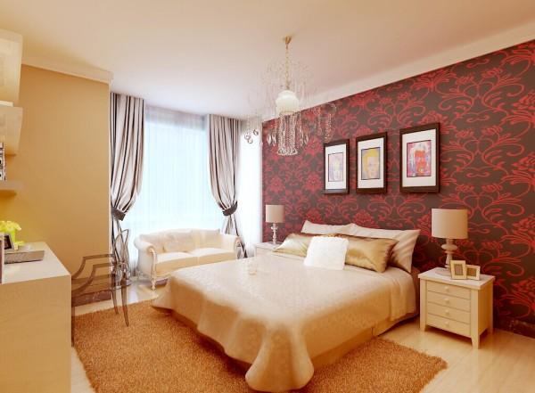 卧室背景墙是时尚个性的花纹图案、几幅文艺的西方油画,展现了业主的生活品味和追求,也为业主营造了清新自然的睡眠环境。
