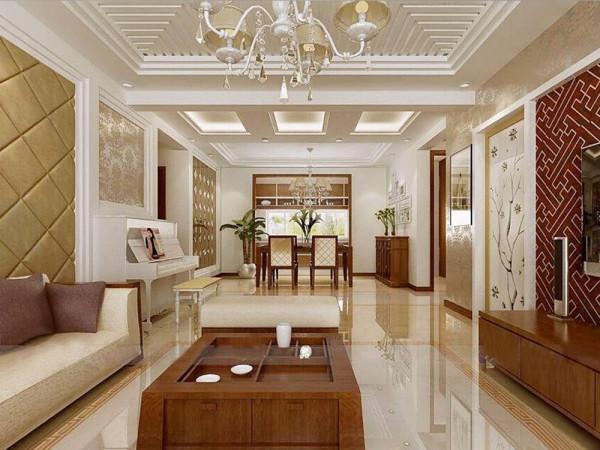 客餐厅的沙发和餐桌等家具选用了深色调的木色系,但整体墙面采用了浅色调,这样不会显得很沉闷,客厅造型吊顶吊顶很好的区分了空间,并且带有很强的装饰性。