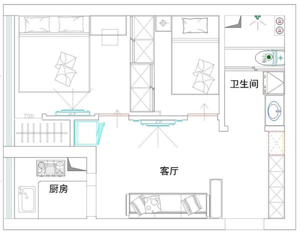 郑州汉飞金沙国际60平方一室一厅一厨一卫户型图