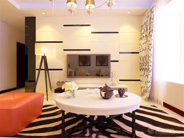 在满足了现代简约风格要求的同时在家具方面也加入了少许后现代的元素,在功能方面,客厅是主人品位的象征,因此电视背景墙采用了黑镜与瓷砖的不对称的切割设计,十分凸显出了现代元素