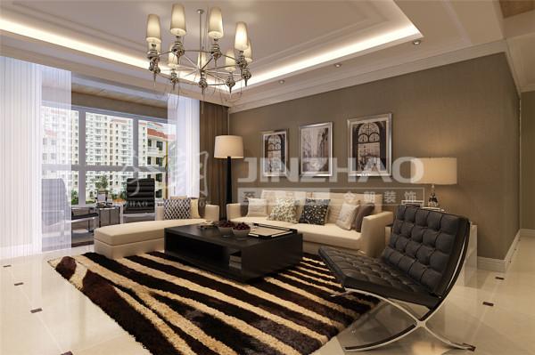 【设计说明】:客厅:简约而不简单,无论是家具还是配饰均以其优雅、唯美的姿态,平和而富有内涵的气韵,包括电视墙选用大理石材质,墙面大面积采用深咖浅咖壁纸。