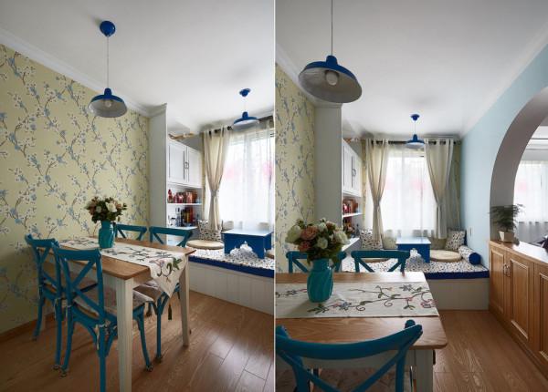 装饰地中海风格老房装修90平米装修餐厅高清图片