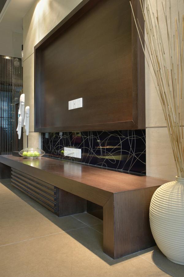 蓝水湾现代中式风格装修案例效果图-蓝水湾现代中式风格装修案例客厅装修效果图