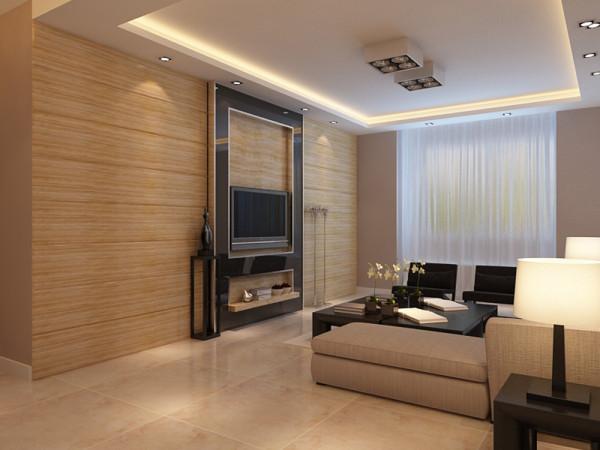 本案以暖色的墙体为主,营造一种温馨的感觉。在沙发的选择上,选择了布艺的白色系的沙发,在沙发的一侧放上单独的深色的布纹小方凳。在抱枕的选择上,选择了白色皮质沙发配上深色调茶几和沙发柜来增加空间感。