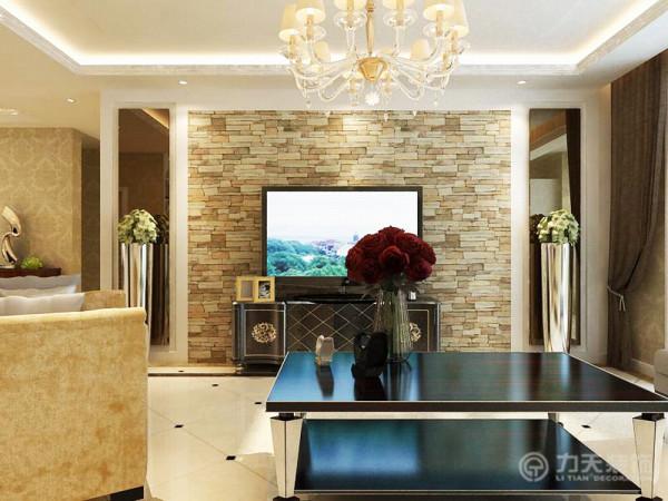 设计的风格是简欧风格,客厅地面用米白色抛光砖斜铺,在沙发区域用深啡