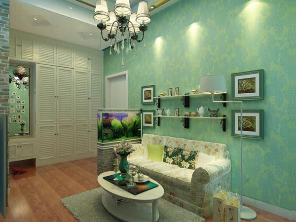 汉飞金沙国际60平方一室一厅装修案例,沙发背景墙装修效果图