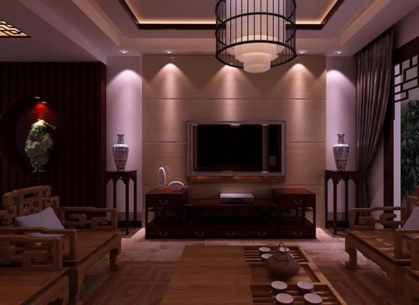 电视背景靠门口的位置做了一个展示藏品的造型和背景墙的石材连成一个主题墙。