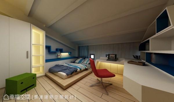 设计师在小孩房中打造蓝色地中海风与粉红浪漫风的设计。 (此为3D合成示意图)