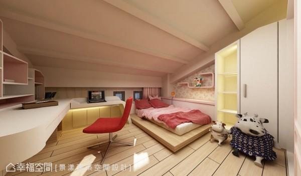 斜屋顶线条呈现阁楼架构,满足小孩心中对秘密基地的小小梦想。 (此为3D合成示意图)