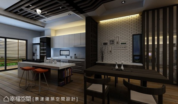 以活动格栅拉门分野的餐厨区,亦可在宾客众多时结合中岛与餐桌共同使用。 (此为3D合成示意图)