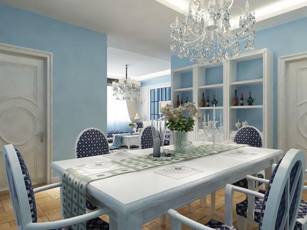 厨房左边是次卧室,空间较大有窗户,通风采光储物都比较好,在下面是卫生间,最后是主卧,主卧的回字形吊顶加灯带装饰,呼应客餐厅。蓝白相间的床,配以挂画,简约、清新