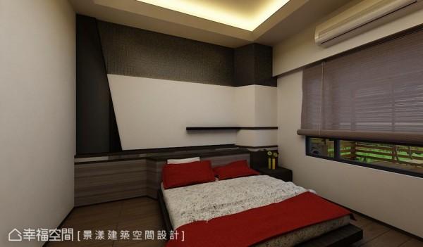 简洁利落的长辈房中,在床头处采转折、斜切等多元线条呈现现代时尚。 (此为3D合成示意图)