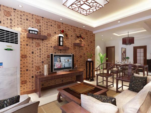 客厅的电视背景墙是以字体壁纸全铺的一面墙搭配一些装饰品而形成的电视背景墙。沙发背景墙是以一幅中式的画来搭配,整体的家具都是选用红桃木色的家具,所以的空间都是以白墙为主