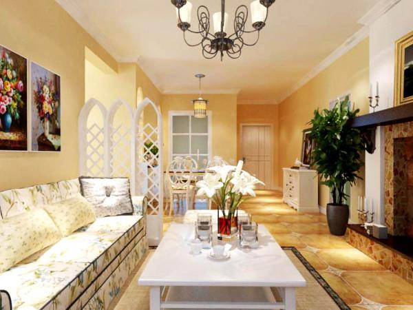 客厅地面采用米黄色仿古砖,沙发采用蓝白相间布艺沙发,墙面挂上两幅显示地中海田园风格的装饰画,鲜艳的色彩为整个空间增加了活力,不至于显得空间过于平淡
