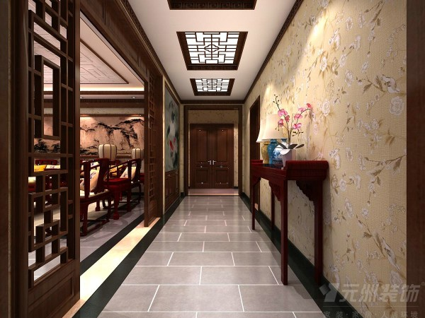 中式风格的设计讲究层次感,所以为了凸显出整体空间的层次感,需要借助隔窗、屏风来分割,同时采用实木制作的框架,以固定其支架,中间采用雕花的形式,形成一个古典韵味的隔断门。
