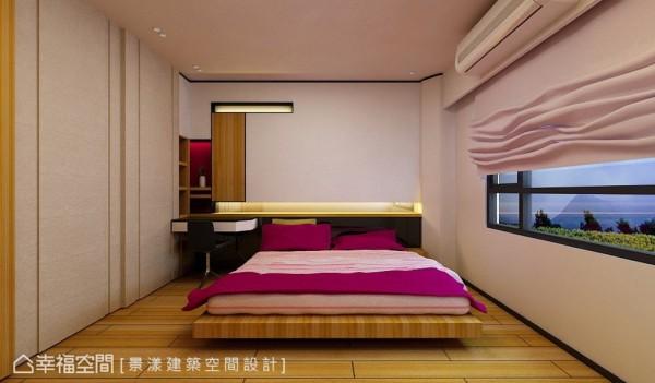 格局对称的女孩房则以利落的现代日式风格规划。 (此为3D合成示意图)