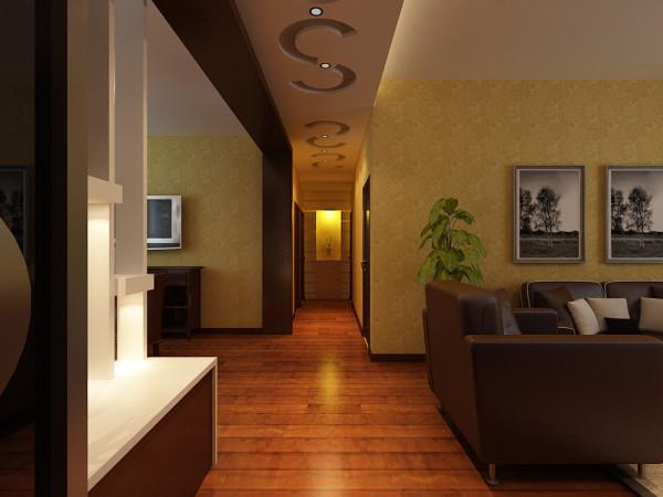 开放式的大厅设计给人以通透之感,电视墙采用温和的灯光和柔美的理石,简单的颜色不会造成视觉疲劳,给人束缚的感觉,避免给人带来压迫感,可以缓解业主工作一天的疲惫。