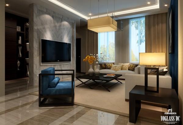 中式混搭高端别墅设计——客厅