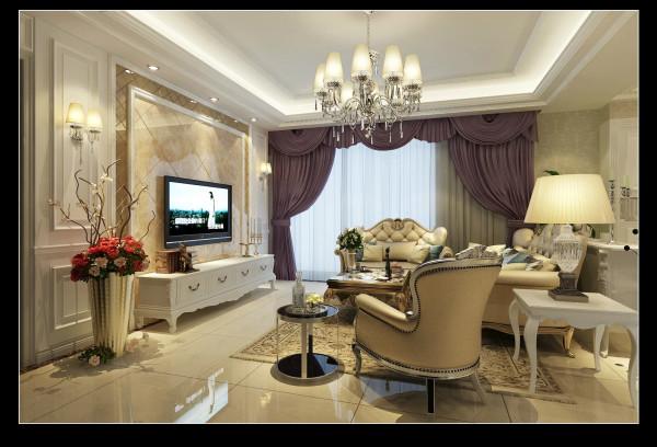 客厅主色调是香槟金,中央的水晶灯衬托出欧式华贵气息