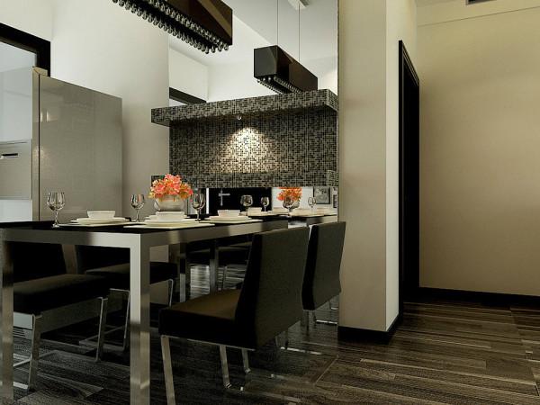 客厅与餐厅在一个空间,颜色统一,简单大方。