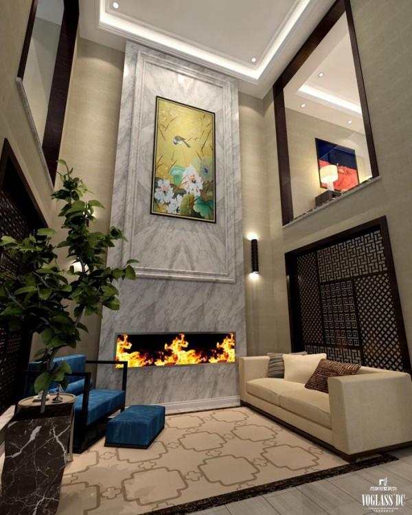 中式混搭高端别墅设计——地下一层中庭