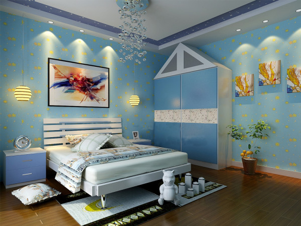 儿童房的颜色选取为蓝色的地中海风格,因为业主的孩子比较喜欢这个风格,所以设计师在设计的时候以地中海风格为主,蓝色的大碎花 壁纸背景墙,床头灯的造型也比较独特。