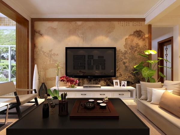 客厅电视背景墙 采用的是一副山水画,木线条包边。沙发颜色体现着中式的古朴,中式这样表现使整体空间传统中透着现代,现代中揉着古典。这样就以一种东方人的'留白'美学观念控制的节奏,显出大家风范。