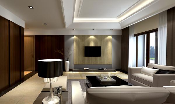 客厅效果简洁但不单调,颜色冷暖结合。