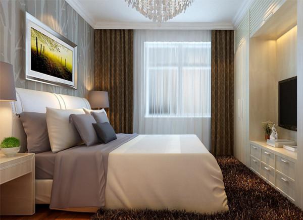 设计理念:主卧室是主人全身心放松的  地方。 亮点:卧室空间用了大面积的暖色,由于空间小,电视背景墙的方向用柜子来做电视背景,即满足视觉享受又能满足实质生活需求。