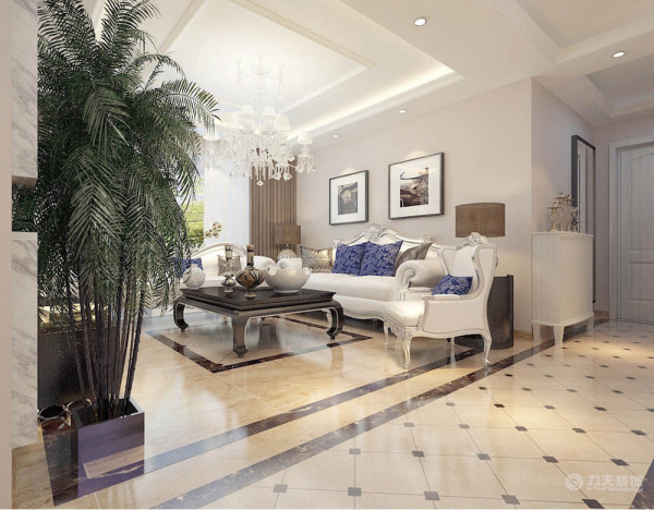 整体色调较为平缓,家具以白色为主,欧式的线条,现代简约的配色,突出了简约欧式的风格。室内回字顶,并有2层叠级石膏线圈边,突出层次。墙面采用暖色乳胶漆,营造温馨柔和的感觉