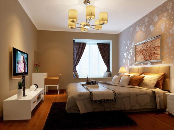 卧室背景墙以小雪花壁纸再搭配一副现代艺术画,木地板的颜色选取与整体的颜色还是搭配的比较好的,对于飘窗的处理,设计师将此处设计成一个消遣的休闲区域,放上两个靠枕,没事的时候可以看看书什么的。