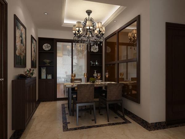 天地湾120平方三室两厅装修效果图新中式风格,餐厅装修效果图