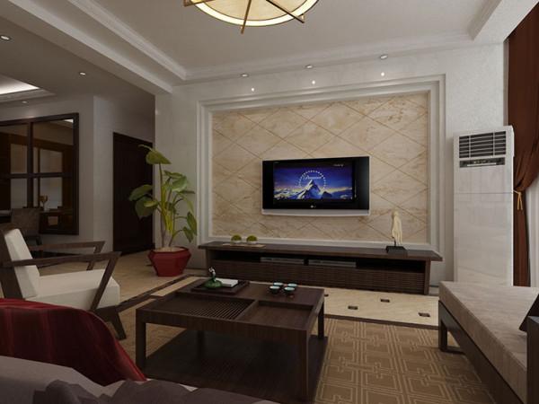 天地湾120平方三室两厅装修效果图新中式风格,客厅、电视背景墙装修效果图