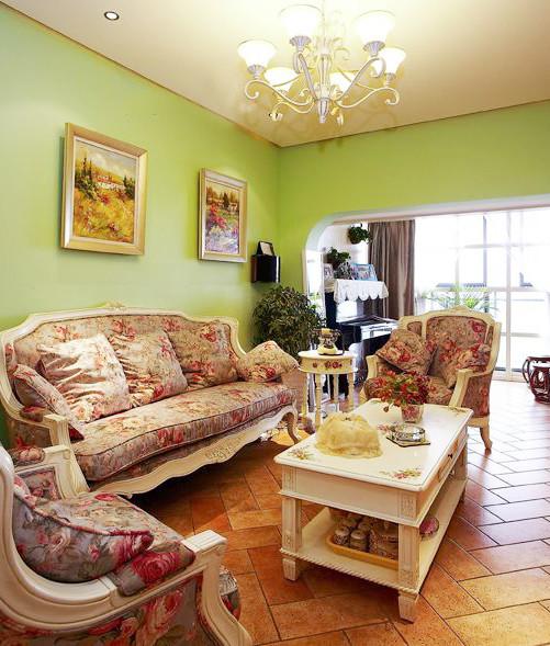 美式沙发与墙面和地面相互融合