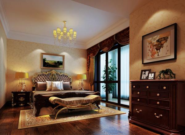 设计理念:原户型的主卧面积略小,体现不出主卧大气,同时房间的利用率很低,设计后将原有儿卧打通,形成一间套房,这样做不仅更好的利用了空间,也增加了主卧的舒适感。