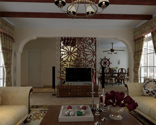 因客厅两侧都是窗户,电视墙的定位是对设计师空间感的考验,大气拱型电视墙 与木质屏风设计在过道右侧,通透、生态与艺术的结合体,让空间虚实相间,营造一 个和谐轻松的氛围。