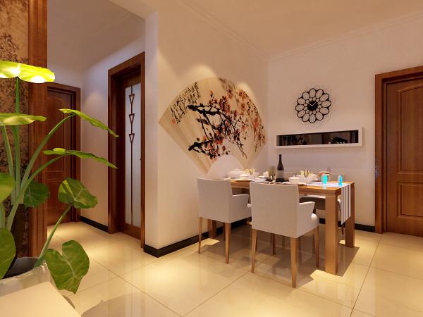 """餐厅这块设计师在处理的时候,特意注意了下背景墙的处理,背景墙以扇子的造型呈现,扇面的梅花图案也体现出中国风的""""傲骨"""",再加上一些特殊造型。墙面的小时钟也比较个性好看。"""